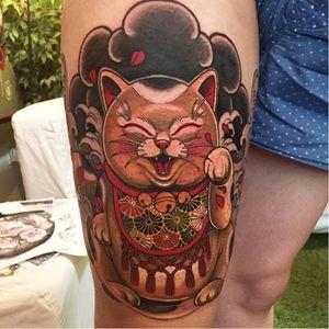 Lucky cat tattoo by Elvin Yong #ElvinYong #asian #contemporary #newschool #luckycat #cat