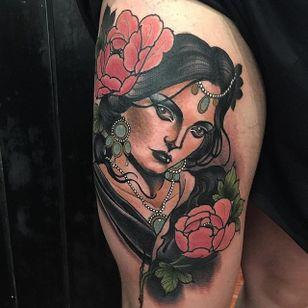 Lady Tattoo by Jake Danielson #neotraditional #neotraditionaltattoo #neotraditionaltattoos #neotraditionalartist #JakeDanielson