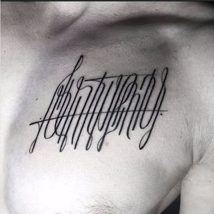 Beautiful calligraphy tattoo by Walter Hego #WalterHego #monogram #lettering #linework #calligraphy #ornamental