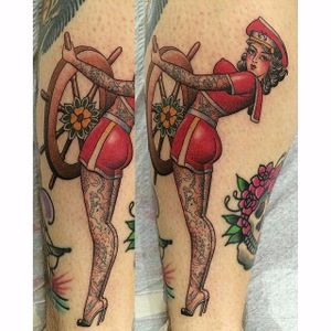 Tattooed Sailor Girl Tattoo by Matthew Pardo #sailorgirl #sailorgirltattoo #tattooedsailorgirl #tattooedsailorgirltattoo #tattoosintattoos #traditional #nautical #pinup #MatthewPardo