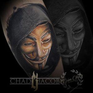Guy Fawkes Mask Tattoo by Chad Jacob #GuyFawkes #Portrait #ColorPortrait #PortraitTattoos #ColorRealism #ChadJacob #GuyFawkesMask #mask