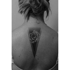 Pointillism tattoo by Pawel Indulski. #PawelIndulski #pointillism #dotwork #geometric #negativespace #rose