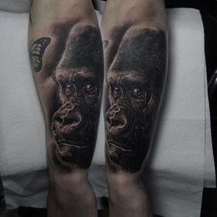 Gorilla Tattoo by Edgar Ivanov #Gorilla #BlackandGrey #BlackandGreyRealism #BlackandGreyTattoos #PortraitTattoos #Realism #EdgarIvanov
