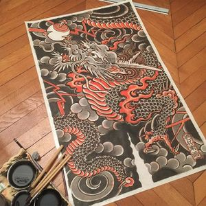 An excellent painting of a classic Japanese dragon via Hide Ichibay (IG—hide_ichibay). #fineart #HideIchibay #Japanese #painting #traditional