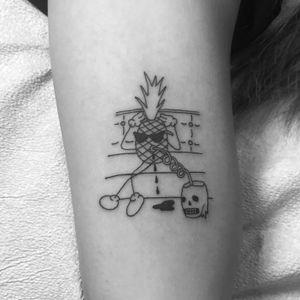 Chill Pineapple tattoo by Sean From Texas #SeanFromTexas #blackworktattoo #lineworktattoo #finelinetattoo #pineappletattoo #skulltattoo #sunglassestattoo #vacationtattoo #foodtattoos #fruittattoo #tattoooftheday