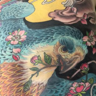 Tattoo by Wendy Pham #WendyPham #TaikoGallery #WenRamen #newtraditional #color #Japanese #mashup #cherryblossoms #flowers #floral #eagle #bird #feathers #clouds #nature