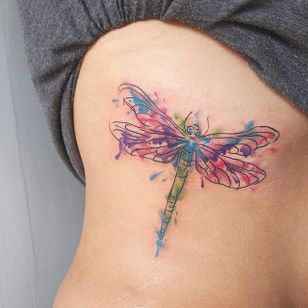 Ink splatter dragonfly tattoo by Jessica Channer. #sketchy #illustrative #dragonfly #insect #watercolor #inksplatter #JessicaChanner