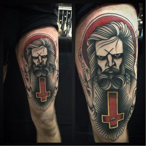 Fun Rob Zombie tattoo by Yohann Dore #robzombie #YohannDore #metal #musician #horrormovies #invertedcross