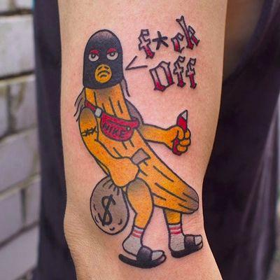 By Kane Berry (via IG -- kane_berry_tattoo) #kaneberry #banana #bananatattoo #anthropomorphicbananatattoo