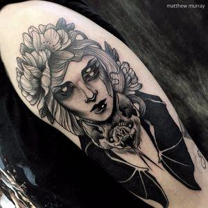 Blackwork woman tattoo by Matthew Murray. #MattMurray #blackwork #dark #macabre #blackveilstudio #woman #blackeyes #bat