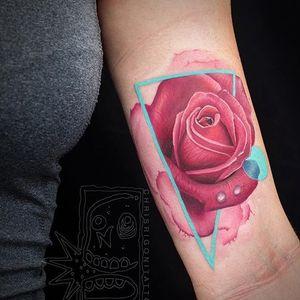 Realistic rose with triangle window via @chrisrigonitattooer #chrisrigroni #mixedstyles #rose