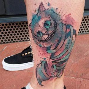 Watercolor style Chesire Cat tattoo by Russell Van Schaick. #cheshirecat #aliceinwonderland #RussellVanSchaick #watercolor