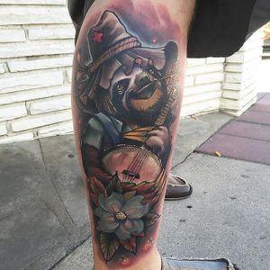 Banjo Sloth Tattoo by Eddie Stacey #sloth #slothtattoo #slothtattoos #slothdesign #funtattoos #EddieStacey
