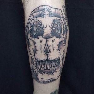 Dali Skull Tattoo by Marceloco #blackwork #abstractblackwork #blckwrk #contemporary #blackink #contemporaryblackwork #skull #dali #salvadordali #Marceloco