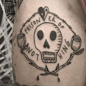 Skull tattoo by Francisca Silva #ignorantart #ignorantblackwork #ignorantstyle #ignorant #skull #rose #yingyang #contemporary #minimalart #minimalism #blackwork #blckwrk #FranciscaSilva