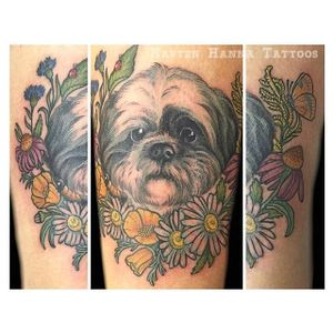 Shih tzu and flowers tattoo by Hanna Sandstrom. #neotraditional #styledrealism #flowers #dog #shihtzu #HannaSandstrom