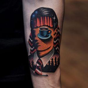 Surreal Twin Peaks tattoo by David Cote (Via IG - thedavidcote)