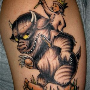 """Shaun Topper's (IG_shauntopper) awesome banger of Max and a monster from Maurice Sendak's """"Where the Wild Things Are"""" #Caldetatts #childrensbooks #MauriceSendak #WheretheWildThingsAre"""