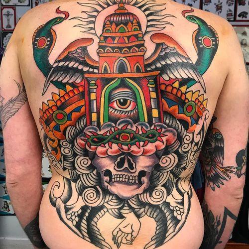 Tattoo by Robert Ryan #RobertRyan #color #traditional #Hindu #surreal #backpiece #temple #wings #feathers #skull #thirdeye #naga #snake #reptile #mudra #crownofthorns #clouds #sun