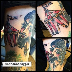 Circus Tent Tattoo by @handanddagger #circustattoo #circustattoos #tenttattoo #tent #circustent #circustenttattoo #beardedlady #traditionalcircustattoo #HandandDagger