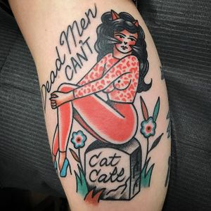 """""""Dead Men Can't Cat Call"""" by Jessi Preston #JessiPreston #traditional #traditional #catlady #pinup #flower #grave #color #tattoooftheday"""