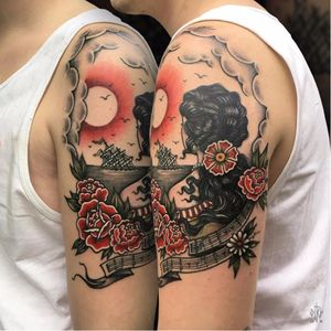 Louie Louie tattoo by Iditch #Iditch #traditional #neotraditional #shipwreck #flower #louielouie #motorhead #song