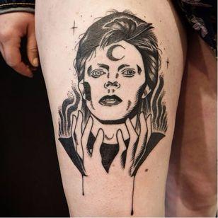 David Bowie tattoo by Kim Tran #KimTran #illustrative #graphic #blackwork #portrait #surrealistic #davidbowie