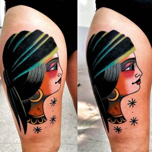 Gypsy Tattoo by Łukasz Balon #gypsy #gypsytattoo #graphictattoos #graphictradtitional #traditionaltattoo #traditionaltattoos #traditionalartist #creativetattoos #abstractattoos #contemporarytattoos #LukaszBalon