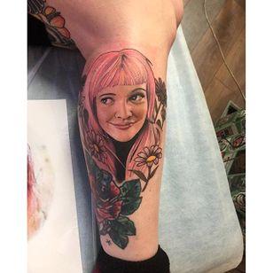 Drew Barrymore portrait tattoo by Dan Molloy. #DanMolloy #drewbarrymore #actress #portrait