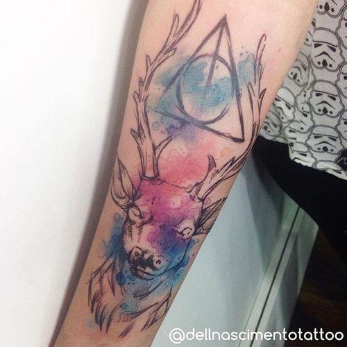 Harry Potter Tattoo by Dell Nascimento #harrypotter #watercolor #watercolorartist #contemporary #DellNascimento