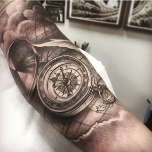 Compass Tattoo by Andy Blanco #compass #compasstattoo #blackandgrey #blackandgreytattoo #blackandgreytattoos #realism #realismtattoo #AndyBlanco