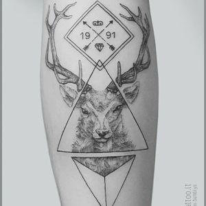 Stag tattoo by Mindaugas Bumblys #MindaugasBumblys #geometric #nature #blackwork #stag