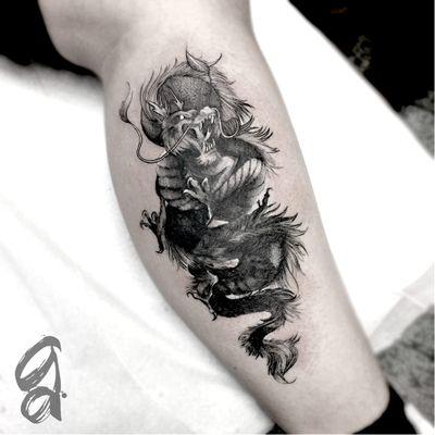 Dragão! #GustavoAbreu #blackwork #fineline #sketch #TatuadoresDoBrasil #dragao #dragon