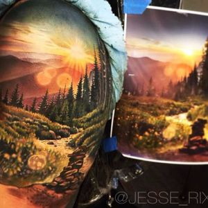 A realistic mountain landscape with the sun rising overhead by Jesse Rix (IG—jesse_rix). #color #JesseRix #realism #sun