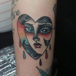 Sad girl tattoo by Emma Holmes. #heart #sad #sadgirl #sadgirlclub #subculture #traditional