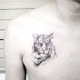 Cute tiger tattoo #realistic by tattooist_flower #potrait #linework #fineline #delicate #tiger #animal