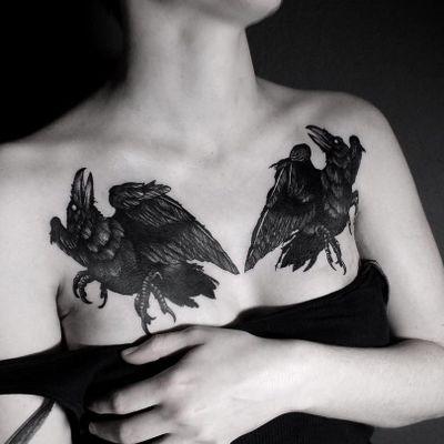 Raven tattoo by Alexander James Hel #AlexanderJamesHel #animaltattoos #blackwork #illustrative #darkart #crow #raven #birds #wings #feathers #nature