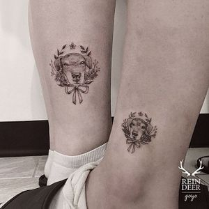 Dog tattoo by Goyo. #Goyo #subtle #fineline #southkorean #reindeerink #blackandgrey #floral #canine #dog #matching #couple
