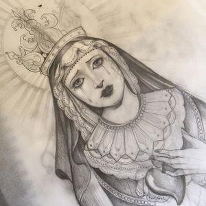 Religious piece via @diletta_lembo #DilettaLembo #blackandgrey #girlsgirlsgirls #ladyhead #ARTSHARE
