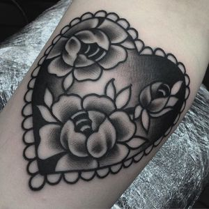Blackwork Tattoo by Jack Peppiette #blackwork #traditionalblackwork #rose #heart #JackPeppiette