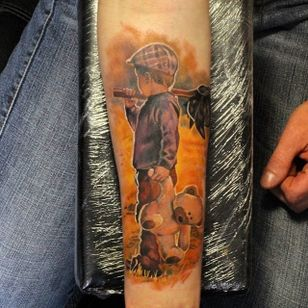 Cool child tattoo by Giena Revess! #GienaRevess #realistic #realism #3D #photorealism #child