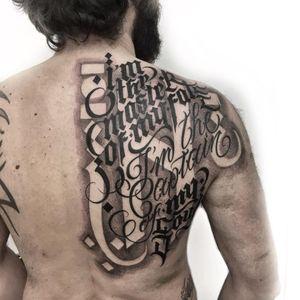 Lettering tattoo by Delia Vico #DeliaVico #lettering #script #oldenglish #gothic #text #quote #font