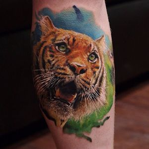 Tiger Tattoo by Dmitry Vision #tiger #tigertattoo #portrait #portraittattoo #colorrealism #colorrealismtattoo #colorrealismtattoos #realistictattoos #colorfultattoos #DmitryVision