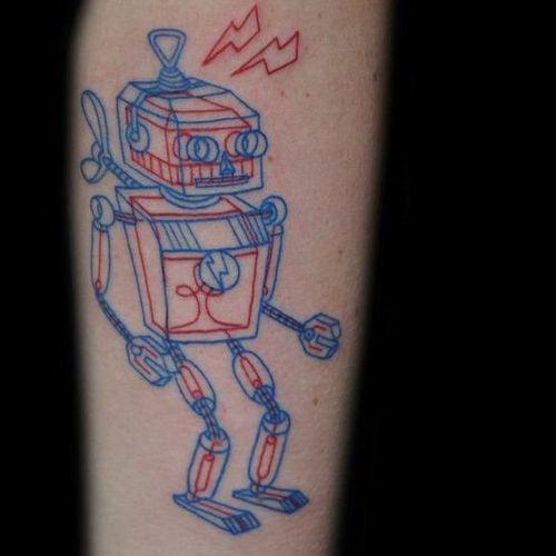 Robot tattoo by Tuula Joka #TuulaJoka #Anaglyph #3D #robot #redink #blueink