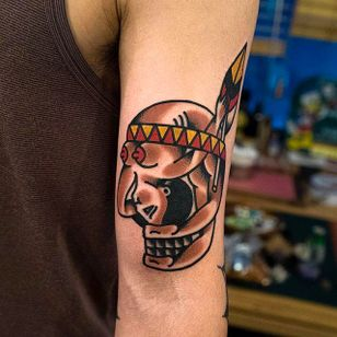 Two in One Native Indian and Pinup Tattoo by Woo @Woo_Tattooer #WooTattooer #Seoul #Korea #TwoinOneTattoo #OpticalIllusion #OpticalIllusionTattoo #Native #Indian #Pinup #Girl