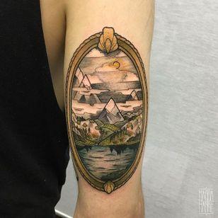Landscape Tattoo by Magda Hanke #landscape #landscapetattoo #neotraditional #neotraditionaltattoo #neotraditionaltattoos #neotraditionalartist #MagdaHanke
