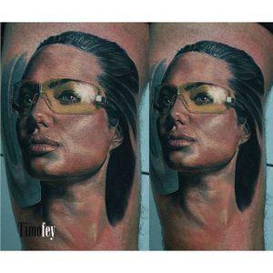 Angelina Jolie tattoo by Timofey Nikulshi. #realism #colorrealism #film #actress #AngelinaJolie #portrait #celebrity