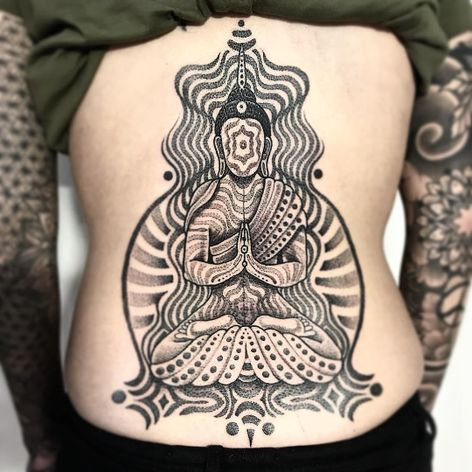 Sitting Buddha by Jondix #Jondix #blackandgrey #dotwork #linework #mandala #pattern #sacredgeometry #Buddha #enlightenment #meditation #Buddhist #lotus