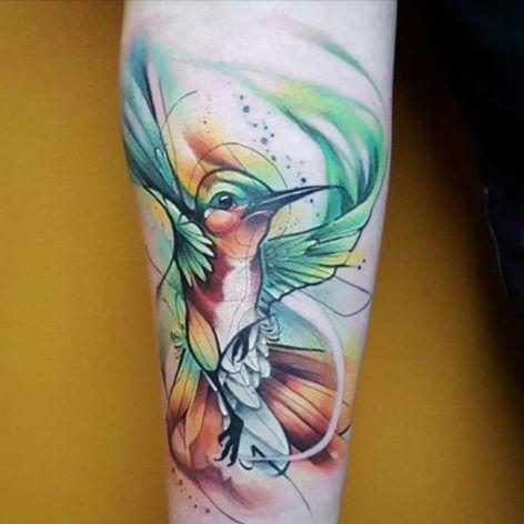 A beautiful watercolor hummingbird by Jorell (IG—thejorell). #Jorell #hummingbird #watercolor