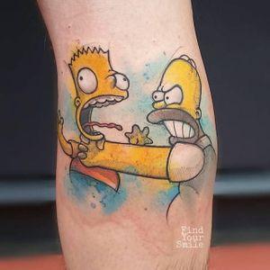 Bart and Homer tattoo by Russell Van Schaick #RussellVanSchaick #FindYourSmile #Homer #BartSimpson #TheSimpsons (Photo @thesimpsonstattoo)